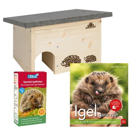 Neudorff Set Igelhaus + Spezial-Igelfutter + BVL Igelbuch
